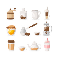Vector flat icons set of coffee/tea isolated on white background: grinder, coffee beans, honey, frappe, coffee to go, tea, milk, milkshake etc