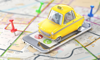 Taxi concept. Yellow retro taxi car on the phone screen on blurred map. 3d illustration
