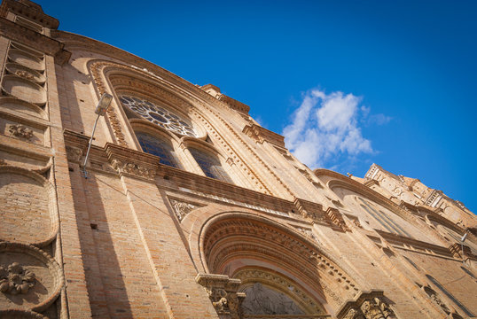 Cathedral of Cuenca, Ecuador in sunny day. Front facade seen from the bottom up.