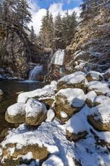 Winter Landscape of Popina Laka waterfall near town of Sandanski, Pirin Mountain, Bulgaria