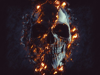 Dark black skull - glowing flames and lava