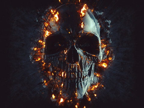 Black skull - flames and embers