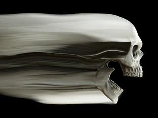Screaming white skull - motion fade trails
