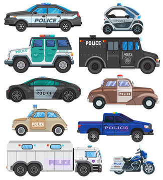 Police car vector policy vehicle and motorbike or motorcycle of policeman illustration set of police-officers transport and police-service auto van or truck isolated on white background