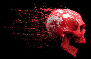 Screaming red skull shedding red skin Wall mural