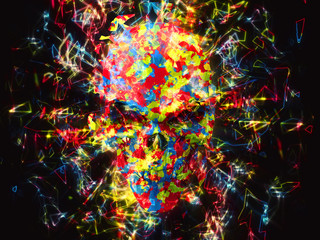 Explosion of color and glowing neon polygons