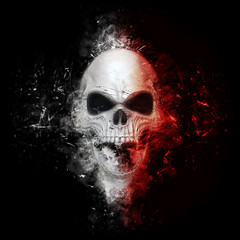 Red and white angry skull neo thrash style