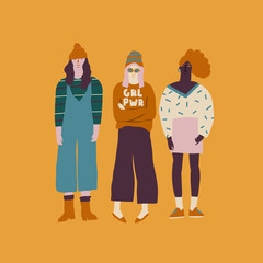 Young women friends illustration.