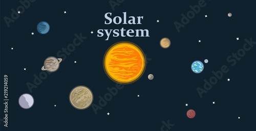 Solar system model including the 8 planets, the Moon and