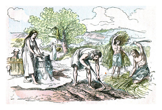 Agricultural work in the Iron Age, vintage engraving.