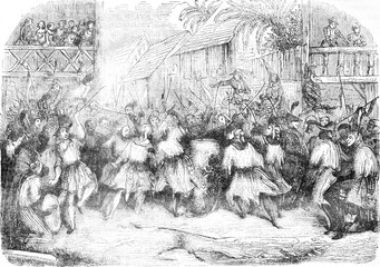A Carnival Scene in Haiti in 1838, after the sketch of a traveler, vintage engraving.