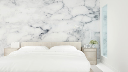 Bedroom and marble wall decoration for residental artwork. Interior simple design.3D Illustration.