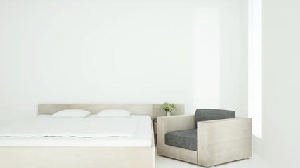 White bedroom for residental artwork. Interior simple design for home or hotel artwork.3D Illustration.