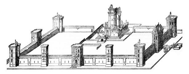 Vincennes Castle under Charles V, vintage engraving.