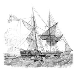 Brigantine ready to run low, making distress signals, vintage engraving.