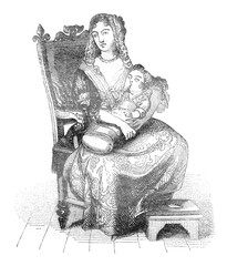 The Nurse of the Duke of Burgundy, vintage engraving.