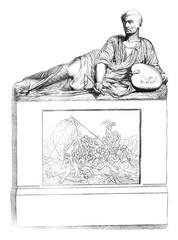 1841 Sculptor Show, Tomb of Gericault, marble, vintage engraving.