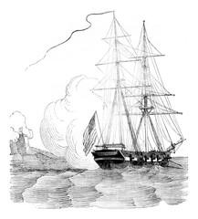 Brig schooner embossed, vintage engraving.
