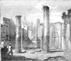 Tetrastyle atrium of the house of General Championnet, Pompeii, vintage engraving.