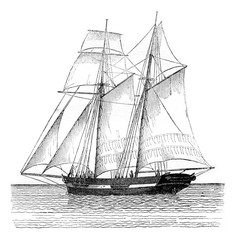 Commercial sailboat sailing, view from the port hip, vintage engraving.