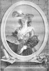 Portrait of Madame lebrun, painter, vintage engraving.