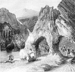 A view in the Balkan, vintage engraving.