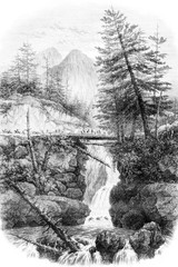 View of Spain Bridge in the valley of Cauterets, Hautes-Pyrerees, vintage engraving.