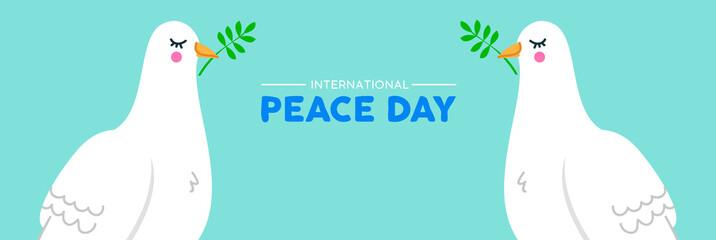 International Peace social banner of white dove birds