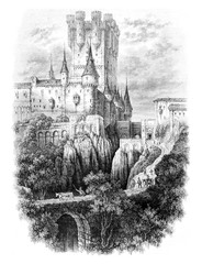 View of the Alcazar of Segovia, vintage engraving.