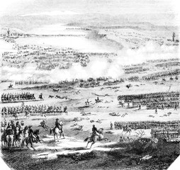 The Battle of Austerlitz, figured after the plans and drawings preserved at the Depot of the war, vintage engraving.