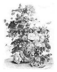 A vase of flowers, vintage engraving.