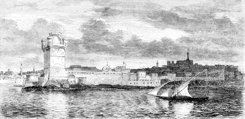 Island of Rhodes, View of Rhodes, vintage engraving.