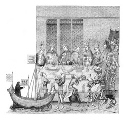 According to a manuscript executed by order of Charles V and preserved in the Royal Library, vintage engraving.