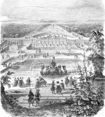 View from the cave and part of the canal, in the old castle of Sceaux, vintage engraving.