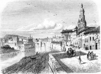 View of Murcia, vintage engraving.