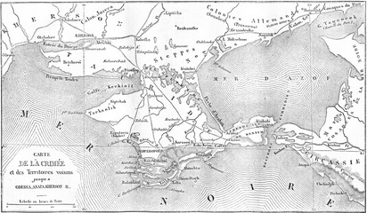 Map of the Crimea, vintage engraving.