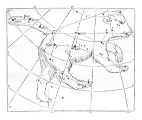 Constellation of the Great Bear, vintage engraving.