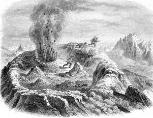 The Volcano of Antuco, Chile, Gas eruption, vintage engraving.