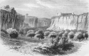 The Gharyan Mountains, south of Tripoli, vintage engraving.