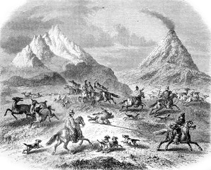 The Hunting at the Guanacos, in the vicinity of the volcano Antuco, vintage engraving.
