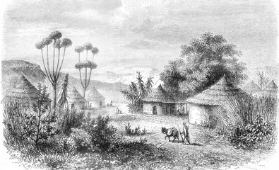 Central Africa, View of the village of Muglebu, in the country of Mousgou, vintage engraving.