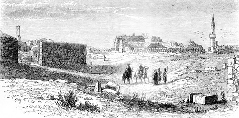 View of Kustendje, near the Danube, place of Ovid's exile, vintage engraving.