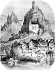 View of Oberstein, vintage engraving.
