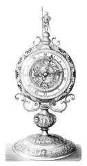 Louvre, Collection Sauvageot, Portable clock of the sixteenth century, vintage engraving.