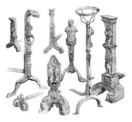 Landiers preserved in the Museum of Cluny, vintage engraving.