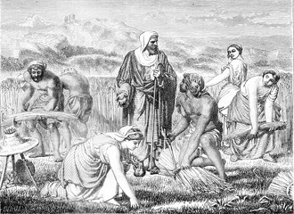 Ruth and Boaz, painting by Glayre, vintage engraving.