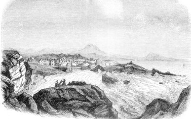 Biarritz, View of the Lighthouse, At the bottom, the mountains of Spain, vintage engraving.
