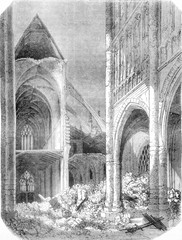 Saint Martin of Vendome, Interior view, vintage engraving.
