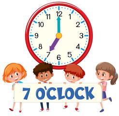 Children and clock on white bankground