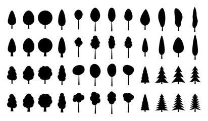 Set of pine Trees silhouette isolated on white background